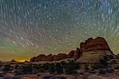 Star trails over Canyonlands National Park, Utah, USA