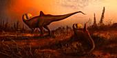 Concavenator dinosaurs, illustration