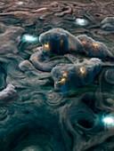 Shallow lightning on Jupiter, illustration