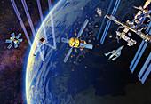 Satellites orbiting Earth, illustration