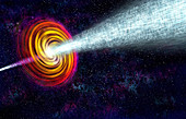 Gamma-ray burst and star collapse, illustration