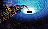 Black hole capturing a spacecraft, illustration