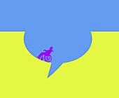 Wheelchair user inside a speech bubble hole, illustration