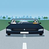 Men social distancing in wide car, illustration