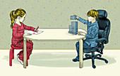 Children and gender stereotypes, conceptual illustration