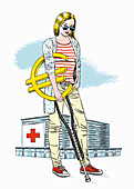 Hospital patient with a euro sign crutch, illustration