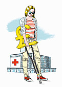 Hospital patient with a pound sign crutch, illustration