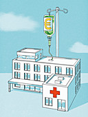 Infusion of euros for a hospital, conceptual illustration
