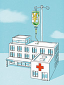 Infusion of yen for a hospital, conceptual illustration