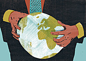 Businessman squeezing the globe, illustration