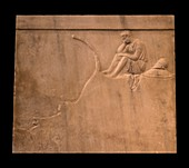 Marble grave stele with trireme bow.