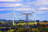 Wind turbines and electricity pylon