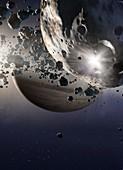 Saturn's ring system, illustration