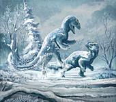 Yutyrannus dinosaur, illustration