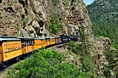 Steam engine on the Durango and Silverton Railroad, USA