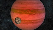 Exoplanet with orbiting moon, illustration