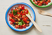 Tomato salad with olives and capers