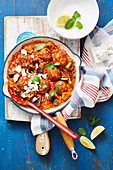 Lamb and mint meatballs with risoni