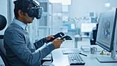 Engineer wearing a virtual reality headset
