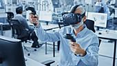 Engineer using a virtual reality headset
