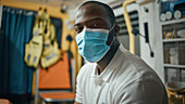 Paramedic wearing a face mask