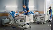 Nurse reassuring elderly patient