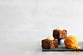 Carrot-ginger sorbet and carrot cakes