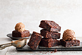 Vegan chocolate macadamia ice cream and brownie bites