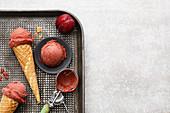 Vegan plum and cranberry sorbet