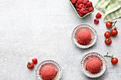 Vegan raspberry and tomato sorbet