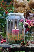 Einmachglas als Windlicht im Wald-Look