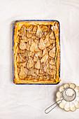 Phyllo pear tart with icing sugar