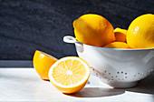 Meyer lemons, whole and halved