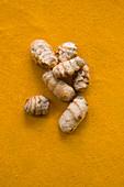 Fresh turmeric on powder turmeric