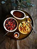 Persian cranberry sauce, Sticky Port gravy, Buttered toast bread sauce