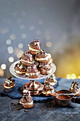 Double chocolate profiteroles with salted caramel cream