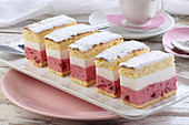 Cake with cream and strawberry mousse