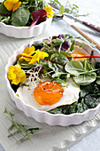 Stewed spinach with fried egg rocket and sprouts