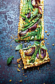Roasted Red Onion and Asparagus Tart