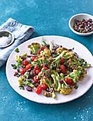 Warm Cauliflower Salad with Tomateoes and Kalamata Olives