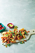 Loaded Wedges with Tomato mince