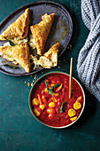 Smoky Tomato Soup with Three-Cheese Bourekas