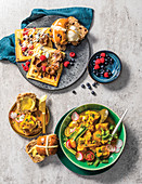 Easter Treats - Berry Waffles, Cape Malay Pickled Fish, Hot Cross Buns