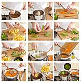 Frühlingssuppe mit Gemüse und Bandnudeln zubereiten