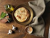 Flatbread with Garlic, Oil, Sage and Sea Salt