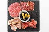 Ham and salami plate with olives