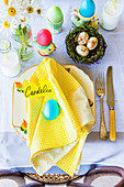 Colourful easter table setting