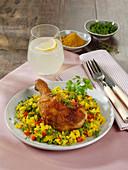Hähnchenkeulen auf Curryreis