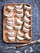 Preparing Chicken, Spring Onion and Shitake Gyoza