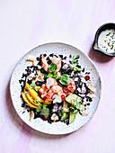 Black Rice Salad with Prawns, Radish, Mango and Acocado